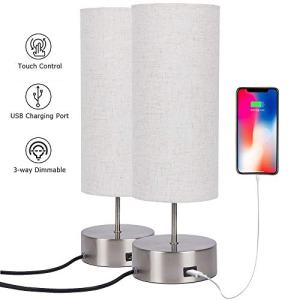 Touch Control Table Lamp Bedside with USB Charging Port,3 Way Dimmable Touch Lamps with Sand Nickel Base and Cylindrical Linen Lampshade for Bedroom Living Room Office (2packs)