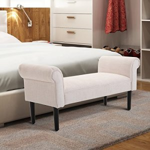 """HOMCOM 52"""" Linen Upholstered Accent Ottoman Bench with Armrests, Cream White"""