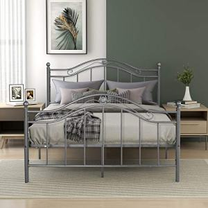 Metal Bed Frame Full Size Platform No Box Spring Needed with Vintage Headboard and Footboard Premium Steel Slat Support Mattress Foundation Black/Silver