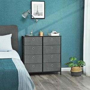 SONGMICS 4-Tier Wide Drawer Dresser, Storage Unit with 8 Easy Pull Fabric Drawers