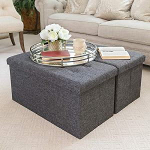 """Seville Classics 31.5"""" Foldable Tufted Storage Bench Footrest Toy Chest Coffee Table"""