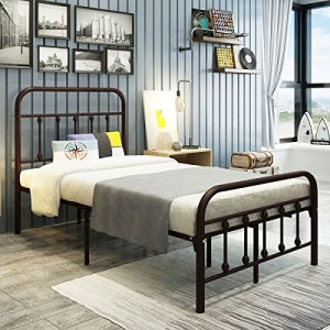 DUMEE Metal Bed Frame Twin Size with Headboard and Footboard Mattress