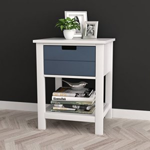 White/Grey Finish Two-Tone Modern Mid-Century Style Nightstand Side Table