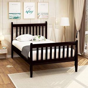 Merax Solid Wood Twin Bed Frame, No Box Spring Needed Kids Twin Wood Bed