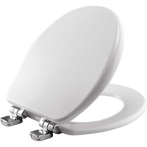 BEMIS 9170CHSL 000 Toilet Seat with Chrome Hinges will Slow Close, Never Loosen and Provide the Perfect Fit, ROUND, Durable Enameled Wood, White