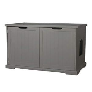 Merry PTH1031722510 Pet Cat Washroom Storage Bench Furniture with Removable Partition Wall, Gray
