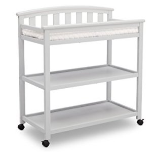 Delta Children Arch Top Changing Table with Wheels and Changing Pad, Bianca White