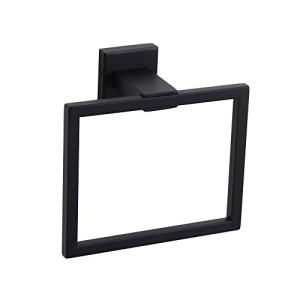 GERZ Modern Black Towel Holder SUS304 Stainless Steel Towel Hanger Towel Ring for Bathroom Lavatory Wall Mount Contemporary Style