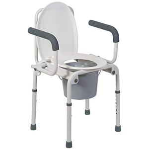 DMI Portable Toilet, Deluxe Commode Chair, Drop Arm Commode For Easy Transfers, Steel Bedside Commode, Easy No Tool Assembly, White