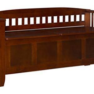 Linon Home Decor Storage Bench with Short Split Seat Storage, Walnut