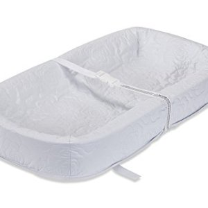 """LA Baby Waterproof 4 Sided Cocoon Style Changing Pad, 30"""" - Easy to Clean Quilted Cover W Non-Skid Bottom, Safety Strap, Fits All Standard Changing Tables/Dresser Tops for Best Infant Diaper Change"""