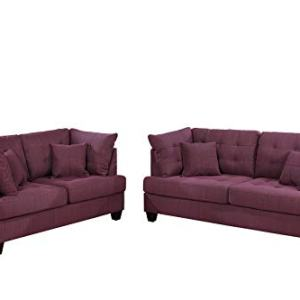 Bobkona 2-Pcs Sofa and Loveseat Purple