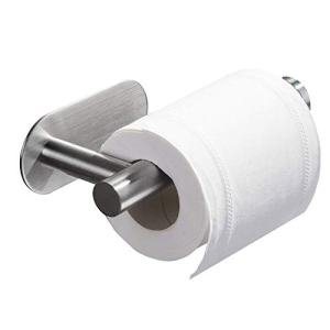 """Brushed Nickel Toilet Paper Holder Toilet Paper roll Holder Self Adhesive+Super Glue SUS 304 Stainless Steel No Drilling for Bathroom Bedroom Kitchen (Space Silver, 6.5"""")"""