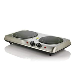 Ovente Electric Glass Infrared Burner 7 Inch Double Hot Plate with Temperature Control, Powerful 1700 Watts with Fire Resistant Metal Housing, Indicator Light, Compact and Portable, Silver (BGI102S)