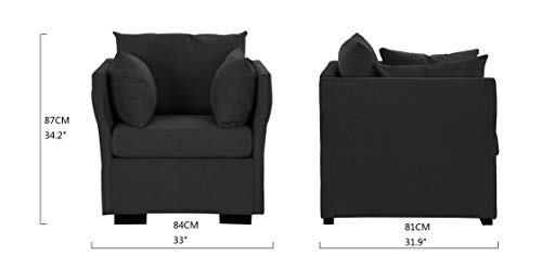 Modern Living Room Linen Fabric Armchair/Accent Chair Package deal Dimensions: 31.9 x 33.1 x 34.three inches