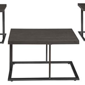 Signature Design by Ashley - Airdon Contemporary 3-Piece Table Set - Includes Coffee Table and 2 End Tables, Bronze Finish