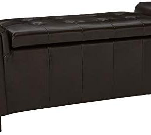 Christopher Knight Home Alden Armed PU Storage Bench, Brown