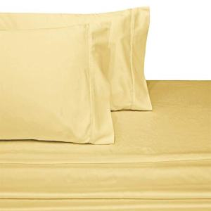 Royal Hotel Collection Luxury Ultra Soft Combed Cotton 600 Thread Count Sateen Woven Pillowcase Sets, Pair of Two Pillowcases, King Size 2 Piece Pillowcase Set, Solid Color, Gold