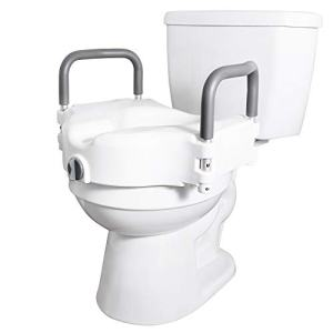 Vaunn Medical Elevated Raised Toilet Seat and Commode Booster Seat Riser with Removable Padded Grab Bar Handles and Locking Mechanism