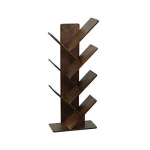 C&AHOME Tree Bookshelf, Bookcase, Bamboo Book Rack, Storage Shelves in Living Room, Free-Standing Books Holder Organizer, Space Saver for Home, Office, Kid's Room Retro Brown