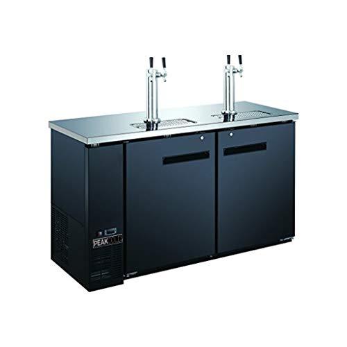 """PEAK COLD 2 Door, 4 Tap Commercial Beer Dispenser - Double Tower Keg Cooler - Kegerator; 60"""" W"""