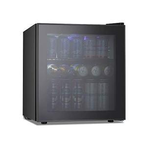Kismile 1.6 Cu.ft Beverage Refrigerator and Cooler,60 Can Mini Fridge with Glass Door for Soda Beer or Wine,Small Drink Cooler Dispenser Counter Top Refrigerator for Home,Office,or Bar (Black)