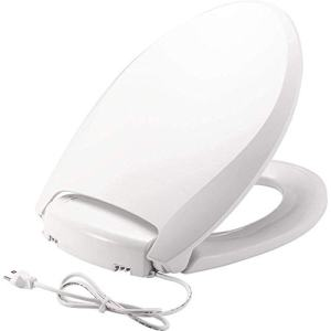 BEMIS Radiance Heated Night Light Toilet Seat will Slow Close and Never Loosen, ELONGATED, Long Lasting Plastic, White, H1900NL 000