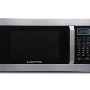 Farberware Professional FMO16AHTPLB 1.6 Cu. Ft. 1100-Watt Microwave Oven with Smart Sensor Cooking Technology and Blue LED Lighting, Stainless Steel
