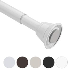 AmazerBath Shower Curtain Rod, 42-72 Inches Rust-Resistant Curtain Rod Adjustable Spring Tension Shower Rod for Bathroom, White