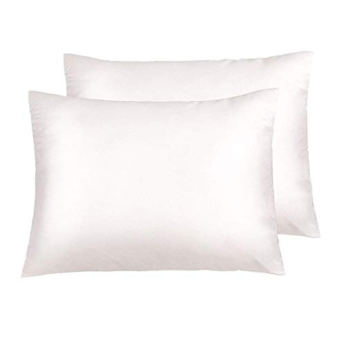 NTBAY Zippered Satin Pillowcases, Super Soft and Luxury Standard Pillow Cases Set of 2, 20 x 26 Inches, Ivory