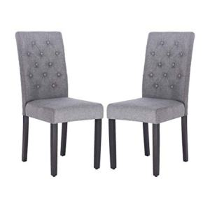 Fabric Dining Chairs,Per-Home Modern Tufted Solid Wood Padded Parsons Chair for Dining Room Set of 2(Grey)