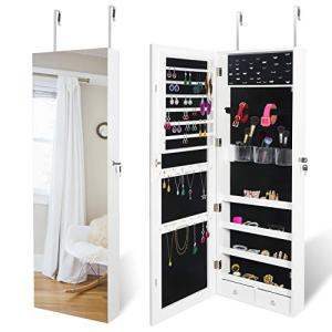 "SUPER DEAL Upgraded 2in1 Jewelry Cabinet 47.3"" H Wall/Door Mounted Jewelry Armoire with 6 Shelves 2 Drawers Jewelry Organizer with Full Length Mirror"