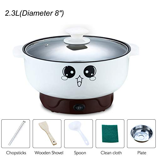 JIAN YA NA 110V Electric Skillet with Lid 4-in-1 Multifunction Non-Stick Stainless Steel Electric Hot Pot Noodles Rice Cooker Steamed Egg Soup Pot Mini Heating Pan Cooking Fried