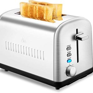 2 Slice Toaster, CUSINAID Extra Wide Slot Toasters 2 Slice 7 Brown Settings and Removable Crumb Tray, Stainless Steel Toasters, Silver