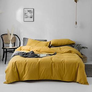 Cotton Queen Duvet Cover Solid Yellow Bedding Sets 100% Washed Cotton Comforter Cover Hotel Quality Luxury Bedding Sets 1 Duvet Cover 2 Pillowcases Yellow Solid Comforter Cover Bedroom Set