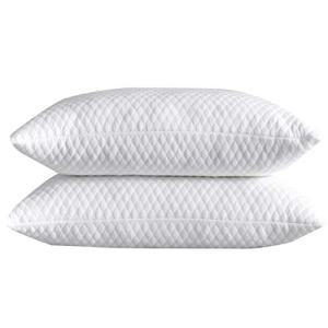 NTCOCO 2 Pillows, Shredded Memory Foam Bed Pillows for Sleeping, with Washable Removable Bamboo Cooling Hypoallergenic Sleep Pillow for Back and Side Sleeper (White, King (2-Pack))