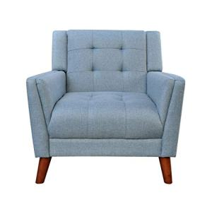 Christopher Knight Home 305539 Alisa Mid Century Modern Fabric Arm Chair, Blue, Walnut