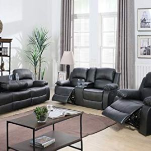 Lifestyle Furniture 3-Pieces Reclining Living Room Sofa Set,Drop Down Table, Bonded Leather, Black(LS2890B-3PC)