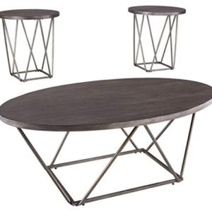 Signature Design by Ashley - Neimhurst Occasional Coffee Table Set of 3, Sleek Brown Wood