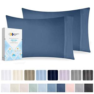 California Design Den Luxury Moonlight-Blue Cotton King Pillowcases - 2 Piece Smooth Sateen Weave Pillowcase Set, 500 Thread Count Durable Pillow Cover with Luxury Finish