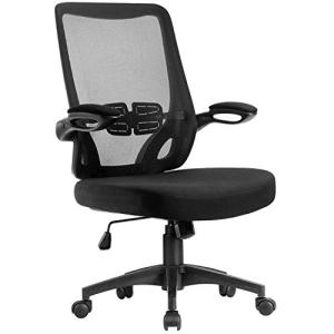Furmax Office Chair Mid Back Desk Chiar Computer Executive Mesh Chair Swivel Ergonomic Task Chair with Adjustable Armrest (Black)