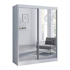 "Aria 2 Door 59"" Wide Modern High Gloss Wardrobe Armoire (White with Mirror/Mirror)"