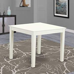 East West Furniture OXT-LWH-T Oxford - Linen White Table Top and Linen White Finish Attractive 4 Legs Hardwood Frame Rectangle Dining Table