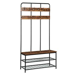 HOOBRO Coat Rack Shoe Bench, Pipe Style Hall Tree with 12 Hooks, Multifunctional Entryway Storage Shelf, Large Size, Wood Look Accent Furniture with Metal Frame, Easy Assembly, Rustic Brown BF05MT01