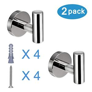 Polished Chrome Towel Coat Hooks SUS304 Stainless Steel Bathroom Clothes Garage Hotel Cabinet Closet Sponges Robe Hook Wall Mounted Round Kitchen Heavy Duty Bath Door Hanger 2 Pack