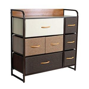 Okeysen 7 Drawers Home Dresser, Fabric Storage Organizer Unit, Wood Top Chest Tower,Easy Pull Bins for Bedroom,LivingRoom,Hallway, Nursery Room (31.5x11.5x31'')