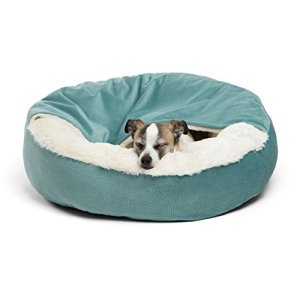 Best Friends by Sheri Cozy Cuddler, TidePool – Luxury Dog and Cat Bed with Blanket for Warmth and Security - Offers Head, Neck and Joint Support - Machine Washable