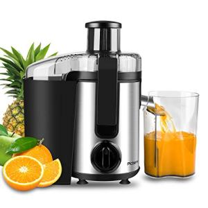 Juicer, Picberm Centrifugal Juicer Machines Easy to Clean, Wide Mouth Juice Extractor with Peeler, Brush & Recipes for Fruits and Vegetables, Dual Speed Stainless Steel BPA-Free Juicers Dishwasher Safe, 400 W