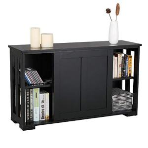 YAHEETECH Buffet Sideboard with Sliding Door and Adjustable Shelf Stackable Cabinets Wooden Console Table Kitchen Dining Room Storage Cupboard, Black
