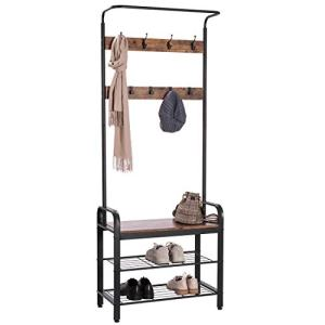 VIVOHOME 3-in-1 Entryway Hall Tree, Industrial Stand Coat Rack with Storage Bench, Wood Furniture with Stable Metal Frame, 8 Hooks